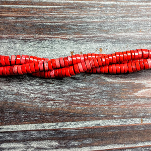 GM-0554 - Red Heishi Magnesite Gemstone Beads, 3x7mm | Pkg 1 Strand
