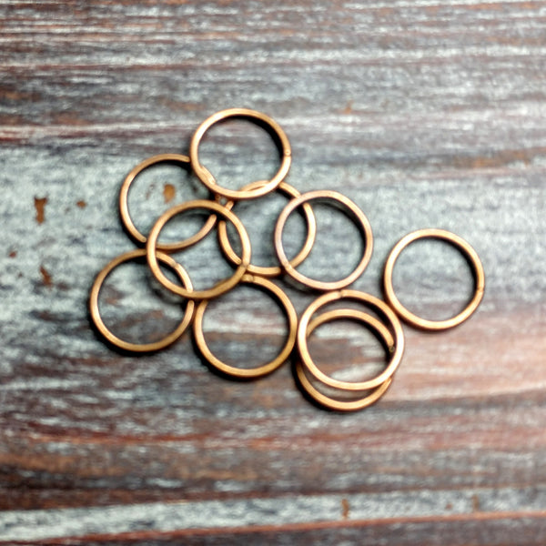AB-5056 -  Large Antique Copper Open Jump Rings, 15mm | Pkg 20