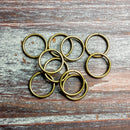 AB-5058 - Large Antique Brass Open Jump Rings, 15mm | Pkg 20