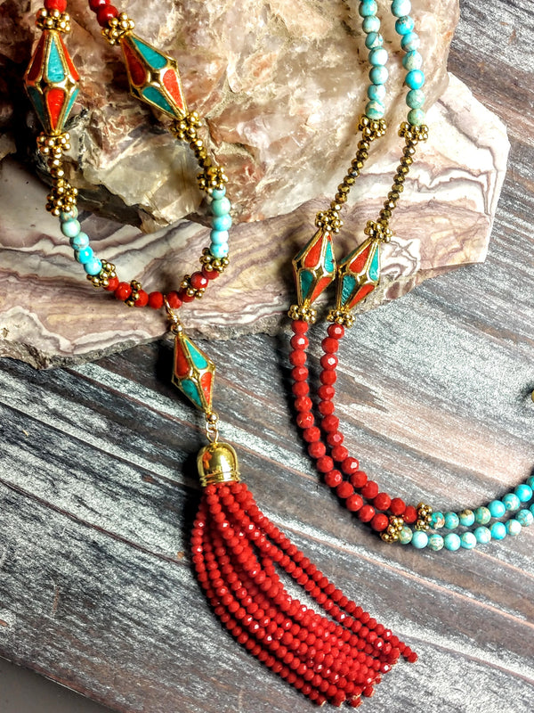 #PDF-501 - Tibetan Tassel Necklace by Susie Henderson