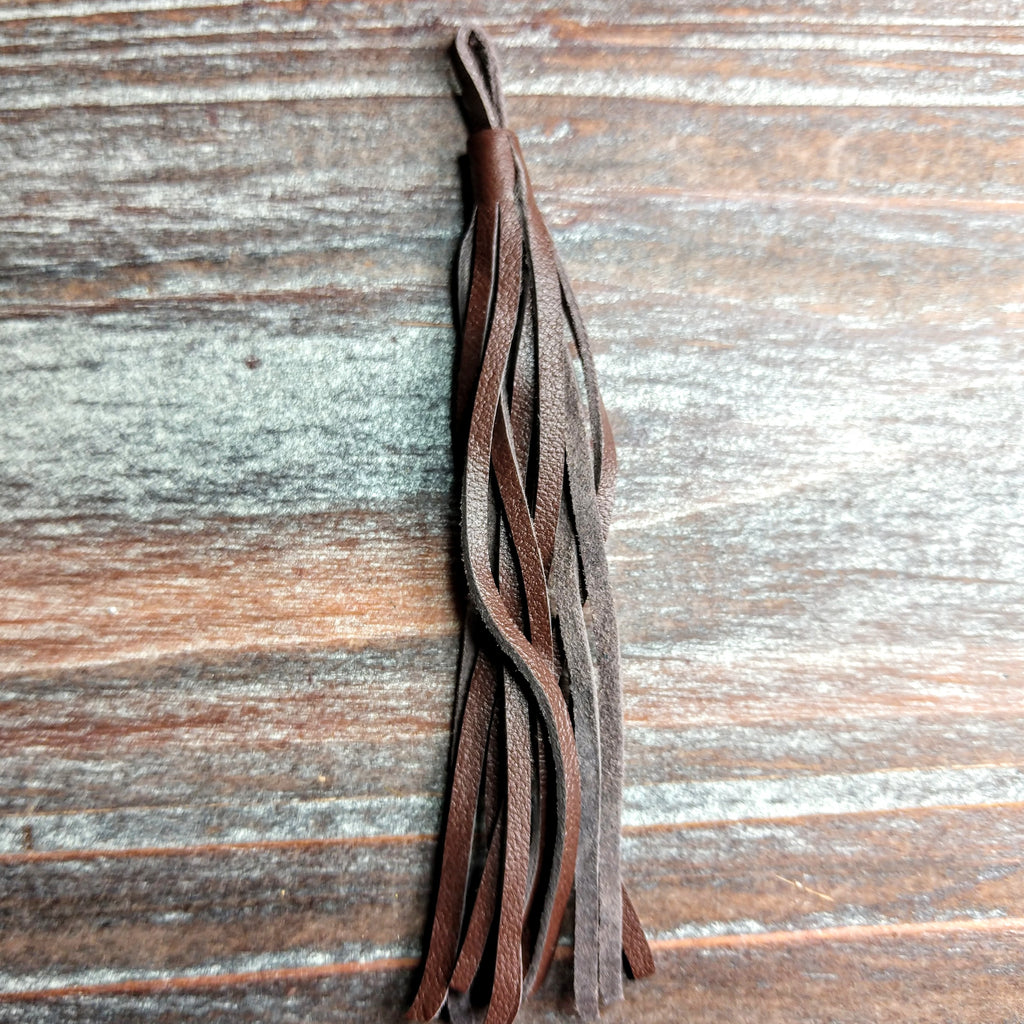GL/LT01N/1403 - Napa Leather Jewelry Tassel, Red Brown, 4"