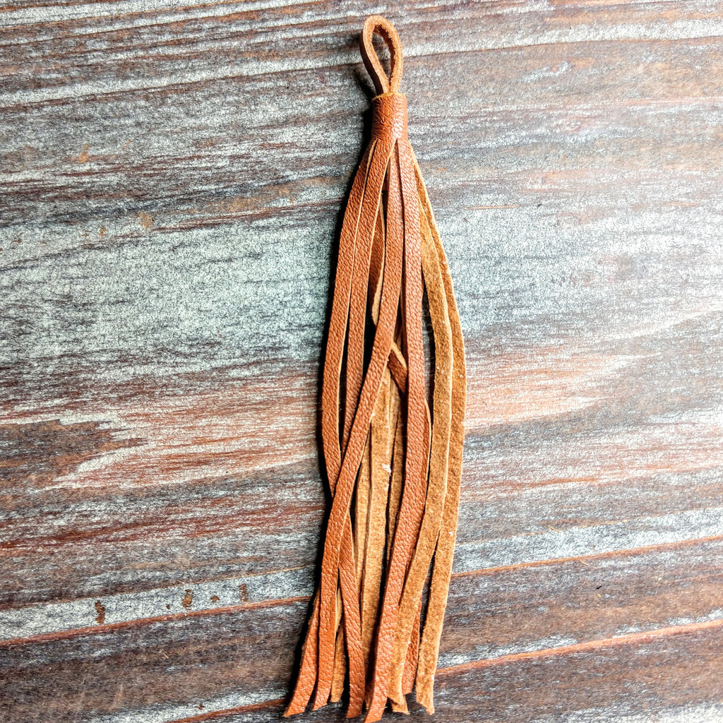 GL/LT01N/1406 - Napa Leather Jewelry Tassel, Saddle, 4"