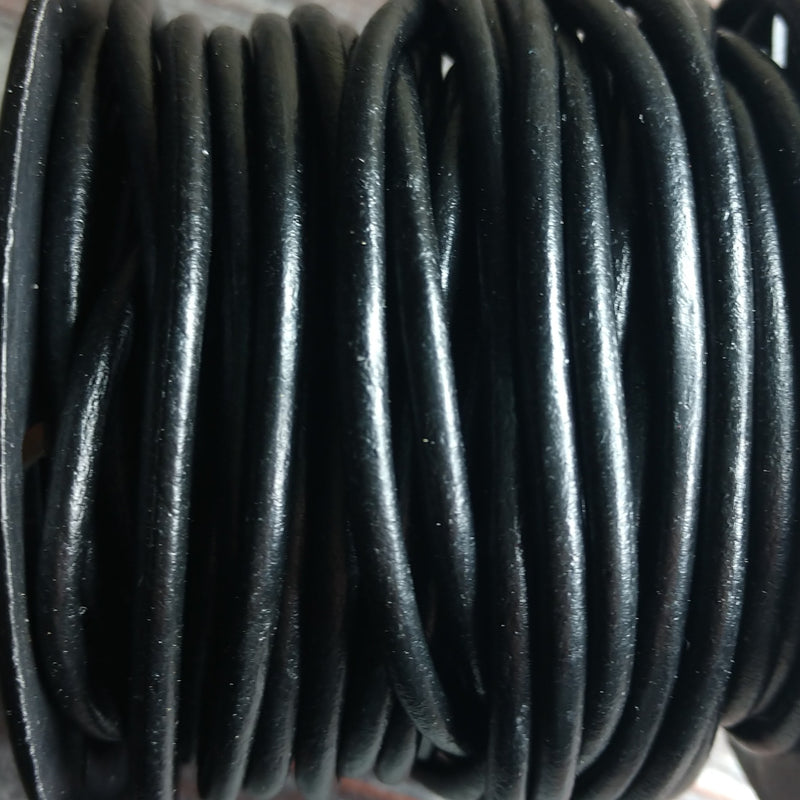 GL/02/1 - Leather Cord, Black, 1mm | Pkg 4 Feet