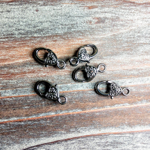 AB-0019 - Gunmetal Heart Lobster Clasps, 10x18mm | Pkg 5