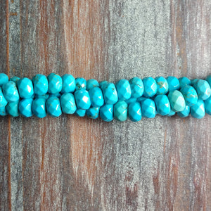 GM-3104 - Magnesite Faceted Rondelle Gemstone Beads, Turquoise Blue, 4x6mm | Pkg 1 Strand