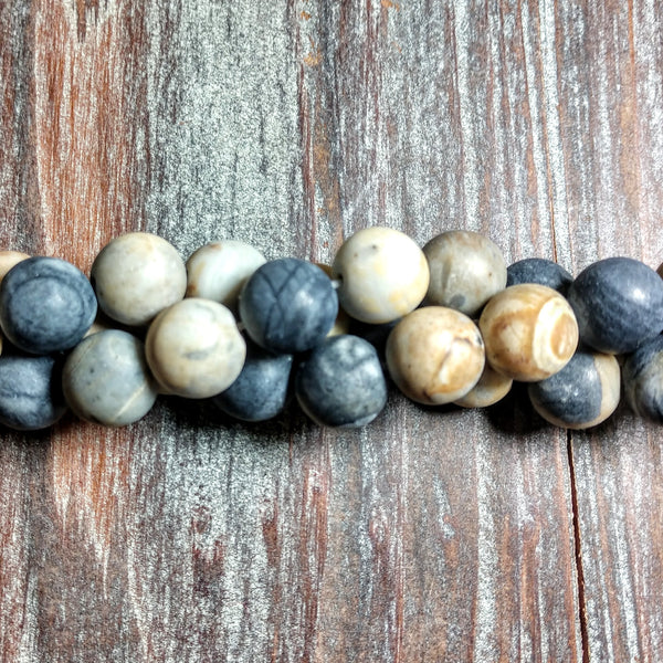 GM-3112 - Gemstone Beads,Black Picasso Jasper,Matte,10mm | Pkg 1 Strand