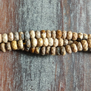 GM-3118 - Gemstone Beads, Picture Jasper Faceted Rondelles,  2.5x4mm | Pkg 1 Strand