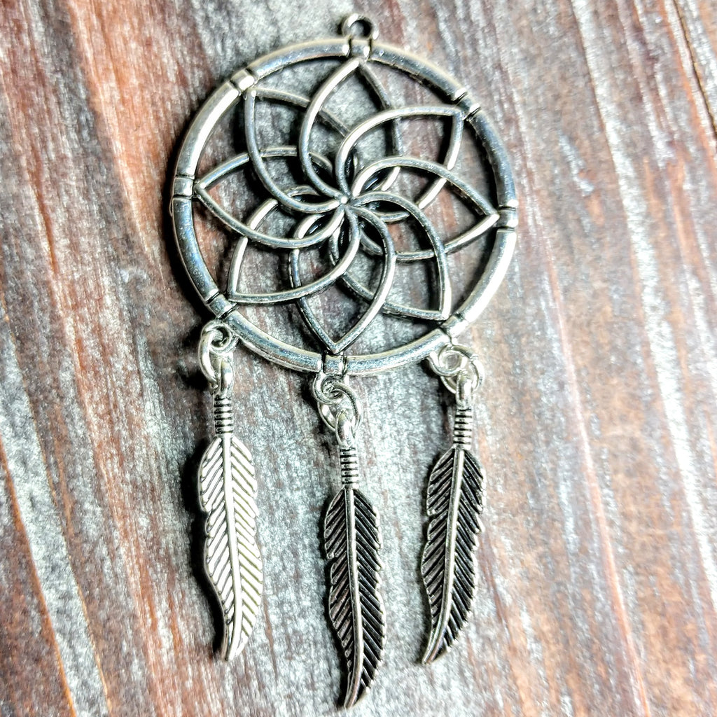 AB-0420 - Antique Silver Dream Catcher Pendant, 35x70mm | Pkg 1