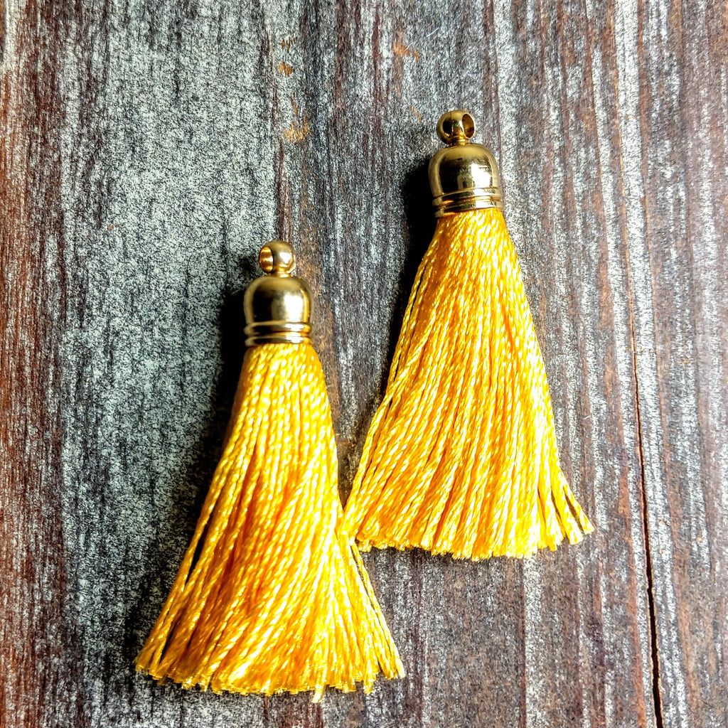 AB-3102 - Jewelry Tassel, Silk Thread, Sunflower, 6x37mm | Pkg 2