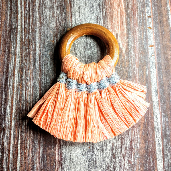 CL-AB-3137 - Jewelry Tassel, Wood Ring, Orange Sherbet Paper Fringe | Pkg 1