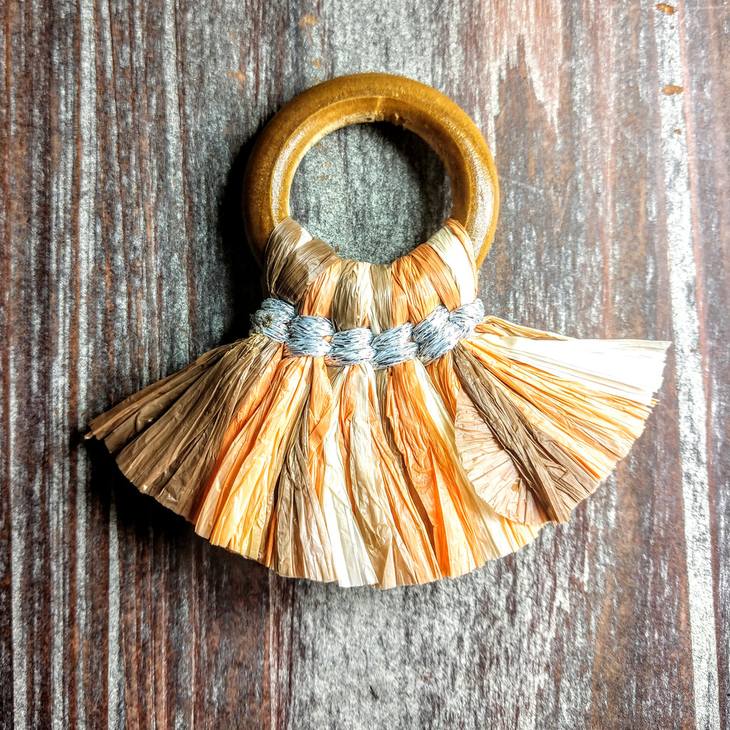 AB-3140 - Jewelry Tassel, Wood Ring, Earthtone Paper Fringe | Pkg 1