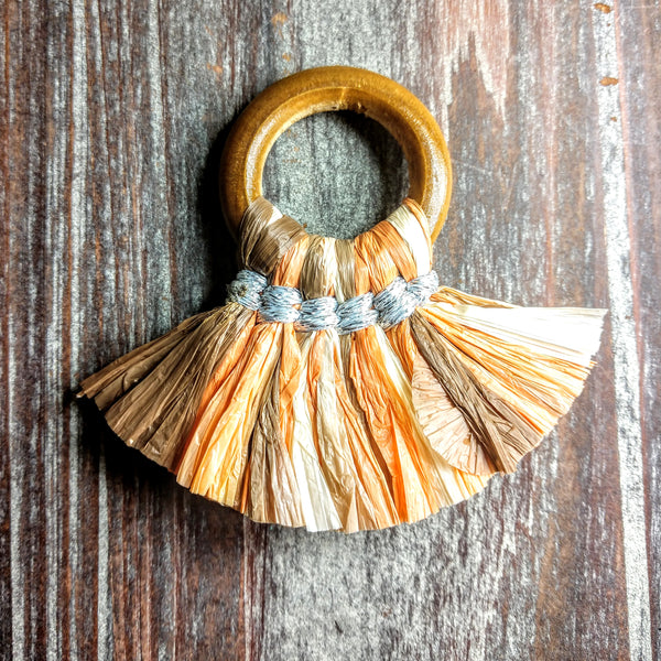 CL-AB-3140 - Jewelry Tassel, Wood Ring, Earthtone Paper Fringe | Pkg 1