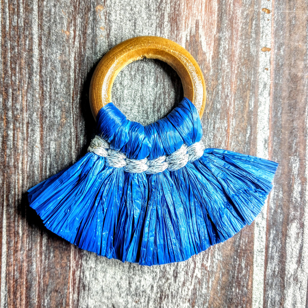 AB-3142 - Jewelry Tassel, Wood Ring, Blue Paper Fringe | Pkg 1