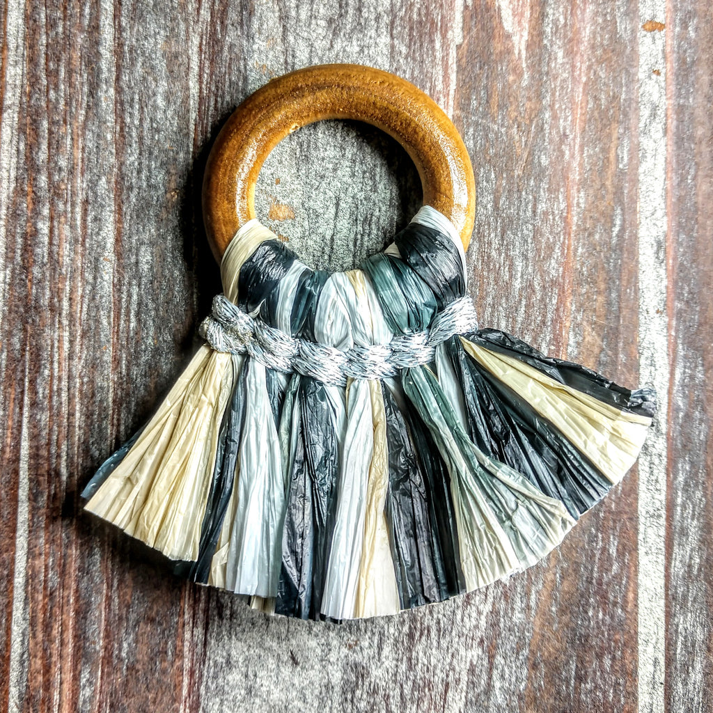 AB-3139 - Jewelry Tassel, Wood Ring, Black Multi Paper Fringe | Pkg 1