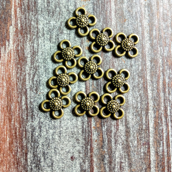 AB-2134 - Jewelry Links,Antique Brass Flower,10mm | Pkg 10