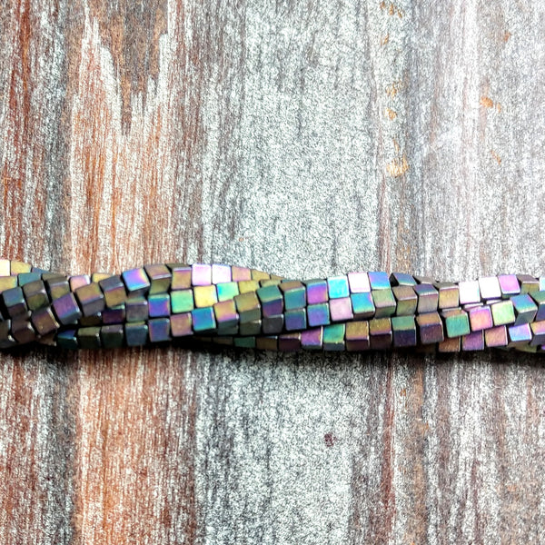 GM-3065 - Hematite Gemstone Beads,3mm Cubes,Matte Rainbow | Pkg 1 Strand