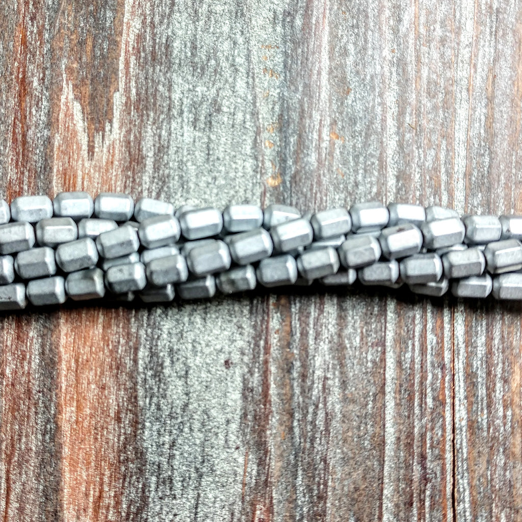 GM-2312 - Hematite Gemstone Beads, Matte Silver, 4x7mm | Pkg 1 Strand