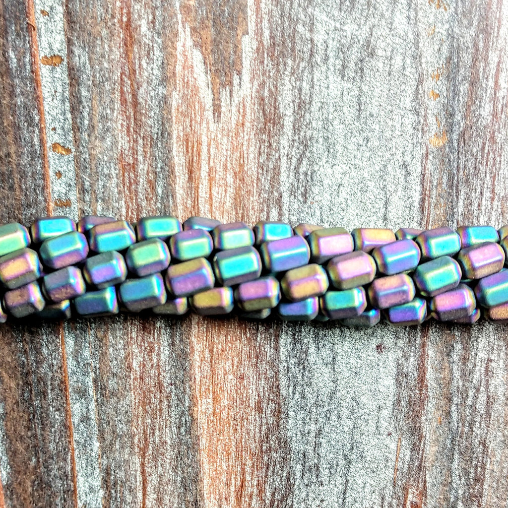 GM-2311 - Hematite Gemstone Beads, Matte Rainbow, 4x7mm | Pkg 1 Strand