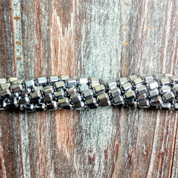 GM-2313 - Hematite Gemstone Beads,Metallic Silver,4x7mm | Pkg 1 Strand