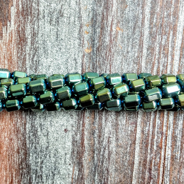 GM-2314 - Hematite Gemstone Beads, Metallic Green, 4x7mm | Pkg 1 Strand