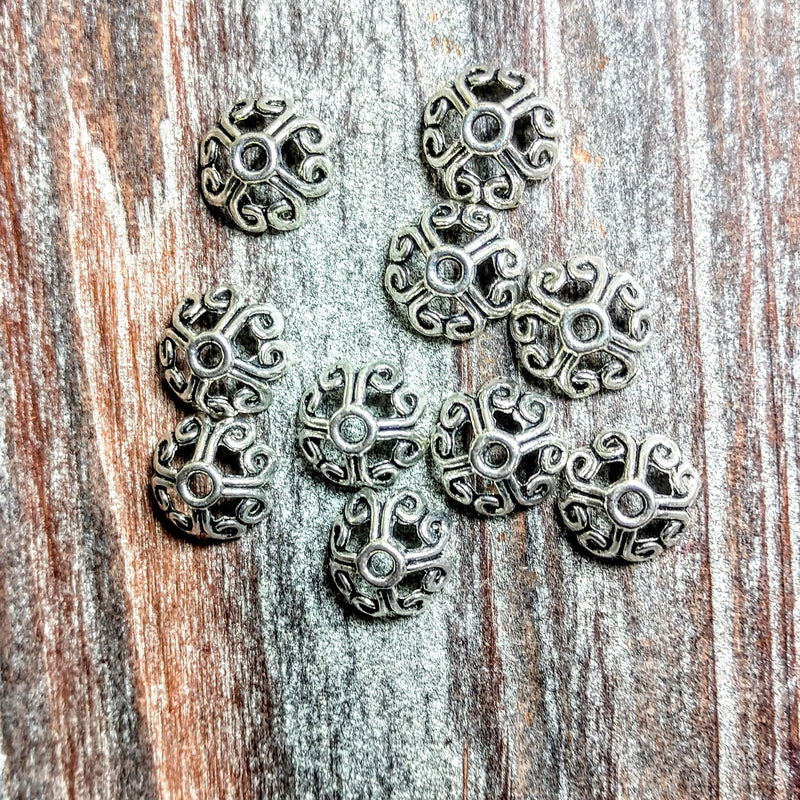 AB-2162 - Silver Bead Caps With Loops, 12mm | Pkg 10