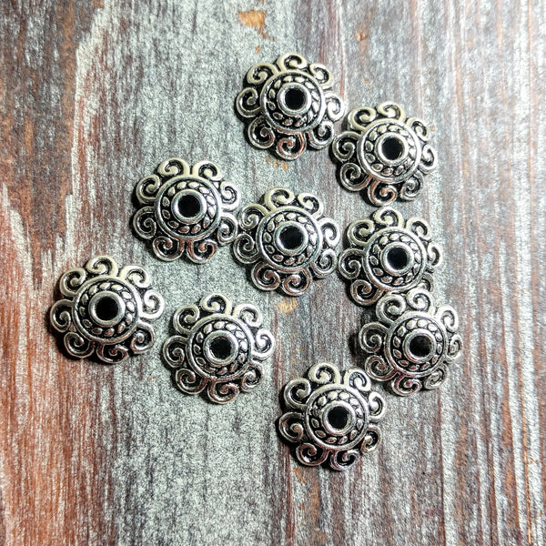 AB-2404 - Silver Pewter Looped Bead Caps,13mm | Pkg 10