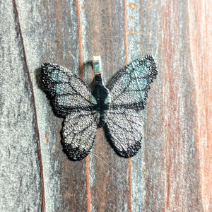 AB-2408 - Butterfly Pendant, Electroplated Leaf, Silver/Black/Green, 31mm | Pkg 1