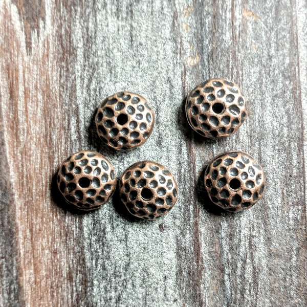 AB-2418 - Antique Copper Beads, Hammered Rondelles, 5x10mm | Pkg 5