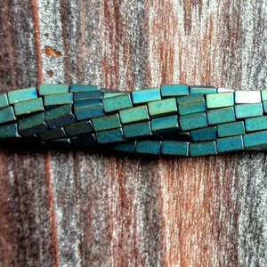 GM-2315 - Hematite Beads,  Metallic Green Tubes, 2x5mm | Pkg 1