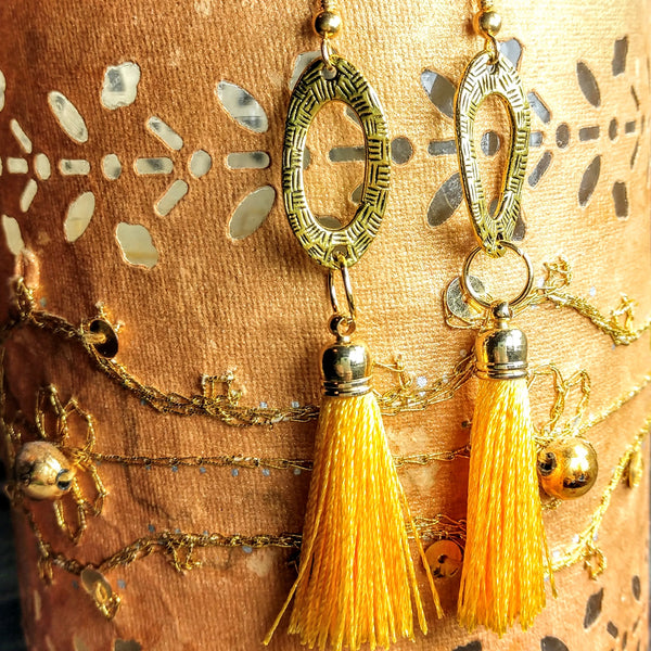 #PDF-510 - Golden Tassel Earrings