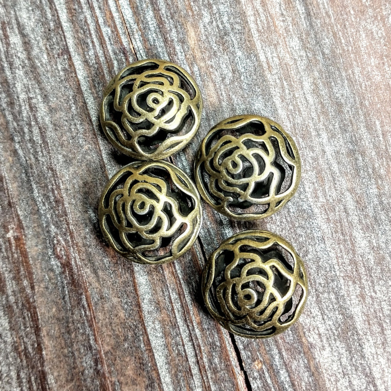 AB-3212 - Antique Brass Beads, Open Flower, 8x17mm | Pkg 4