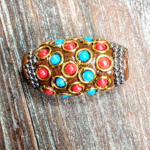 AB-3215 - Tibetan Style Bead, Chocolate With Beads, 18x32mm | Pkg 1