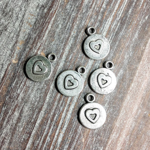 AB-3231 - Silver Charms, Disc With Heart, 11mm | Pkg 5