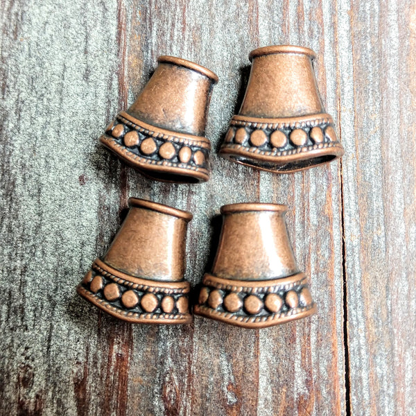AB-3240 -  Bead Caps,Antique Copper Flared With Beading,16x14mm | Pkg 4