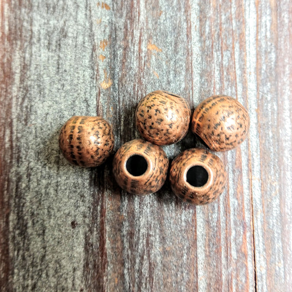 AB-3253 - Copper Beads,Large Hole With Design,11mm | Pkg 5