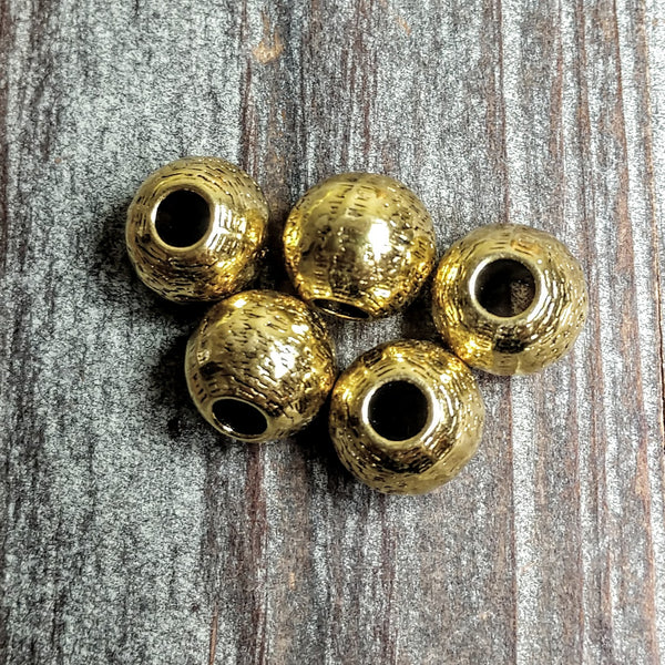 AB-3254  - Gold Beads, Large Hole With Design, 11mm | Pkg 5
