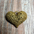 AB-3264 - Antique Brass Puffed Heart Pendant With Flowers, 33x40mm | Pkg 1