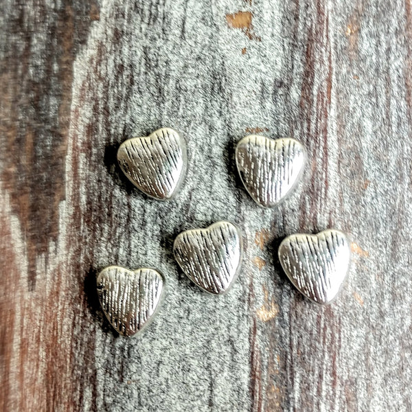 AB-3257 - Silver Beads,Brushed Heart,8mm | Pkg 5