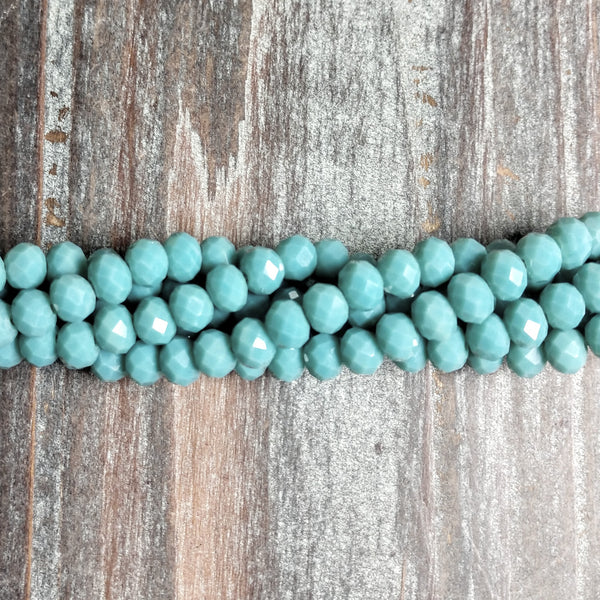 CC-065 - Chinese Crystal 4x6mm Rondelle Beads, Dk Opaque Turquoise Blue | 1 Strand