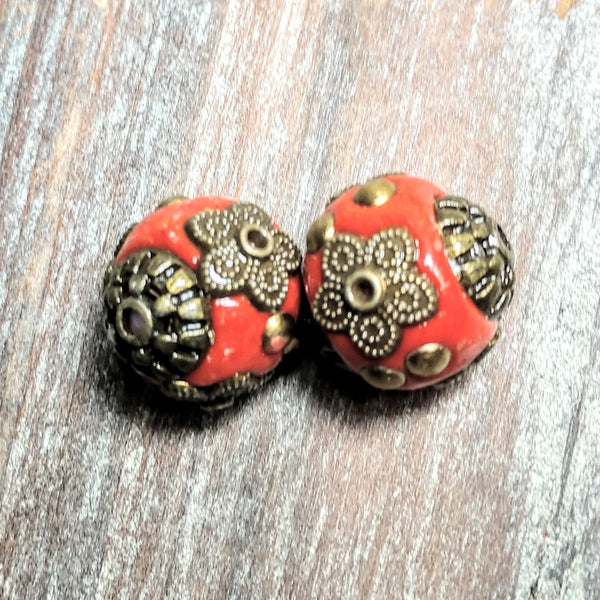 AB-3283 - Tibetan Style Beads,Red,13x14mm | Pkg 2