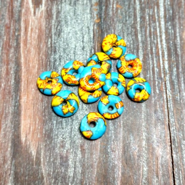 AB-4107 - Sea Glass, Blue And Yellow Discs, 4x11mm | Pkg 10