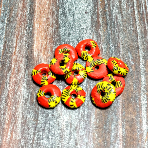 AB-4103 - Sea Glass,Red And Yellow Discs,3.5x12mm | Pkg 10 Pc