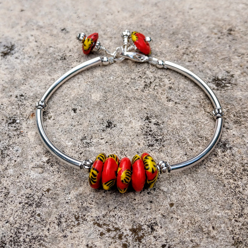 #PDF-532 - Sea Glass In Red Bracelet