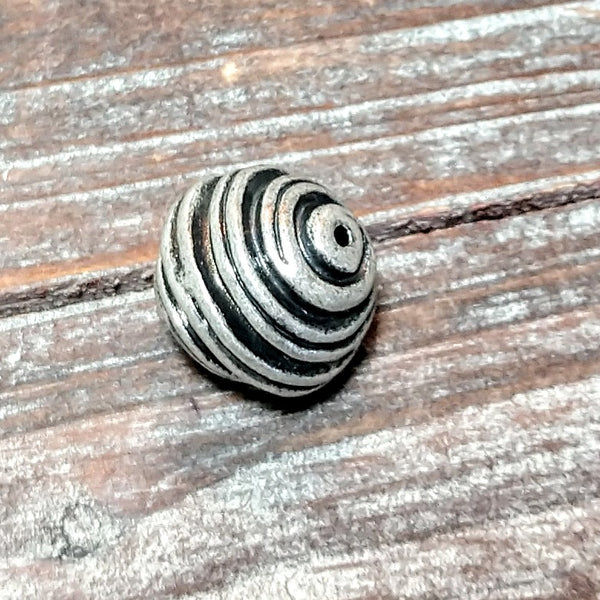 AB-4205 - Designer Silver Focal Bead,Swirls,13mm | Pkg 1