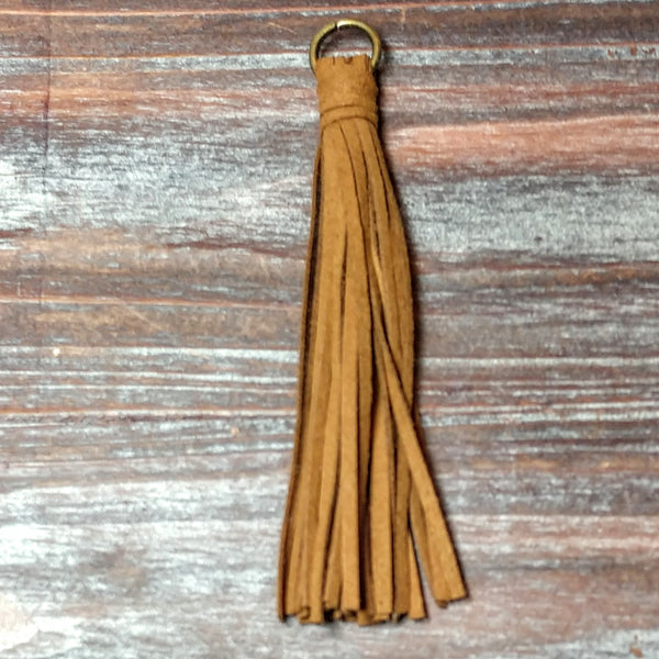 AB-4209 - Jewelry Tassel,Ultra Suede Brown,4.5 Inches | Pkg 1