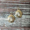AB-4215 - Gold Charms, Sea Shells, 14x19mm | Pkg 2
