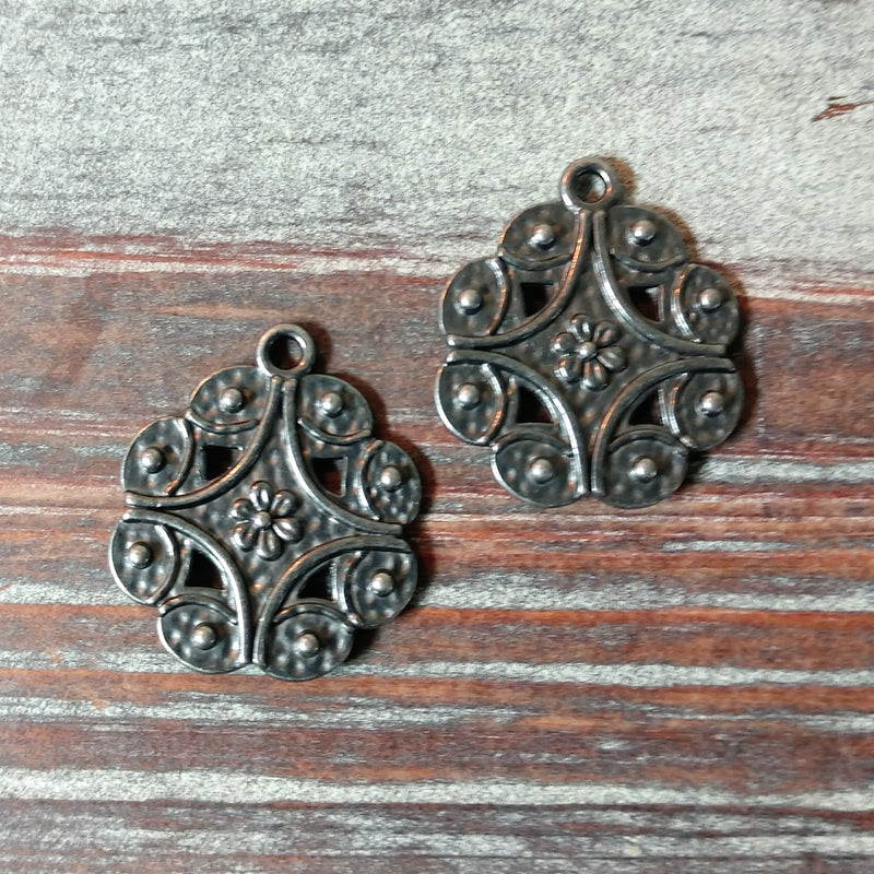 AB-4228 - Drop,Gunmetal With Flower And Swirls,19x22mm | Pkg 2