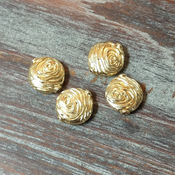 AB-4242 - Metal Beads,Gold Rounds With Spirals,14mm | Pkg 4
