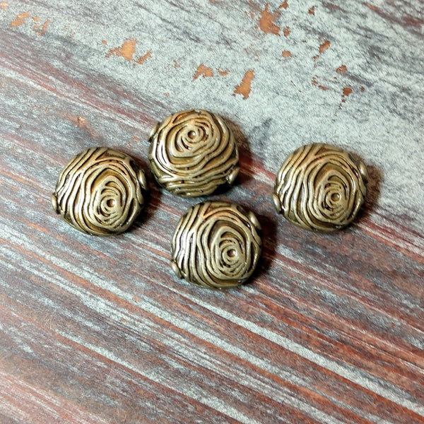 AB-4241 - Metal Beads,Antique Brass Rounds With Spirals,14mm | Pkg 4