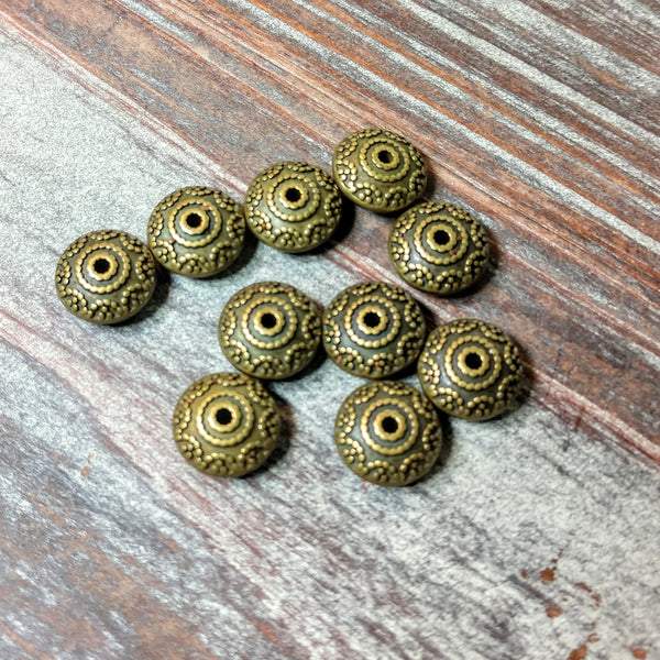 AB-4252 - Antique Brass Metal Beads,Bali Style Rondelles,6x11mm | Pkg 10